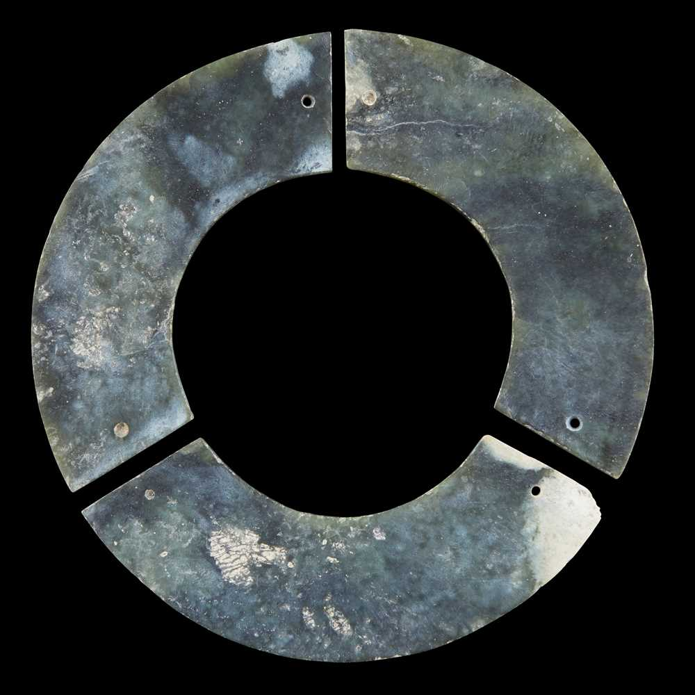 Lot 49 - CELADON JADE 'TRIPLE HUANG' BI DISC