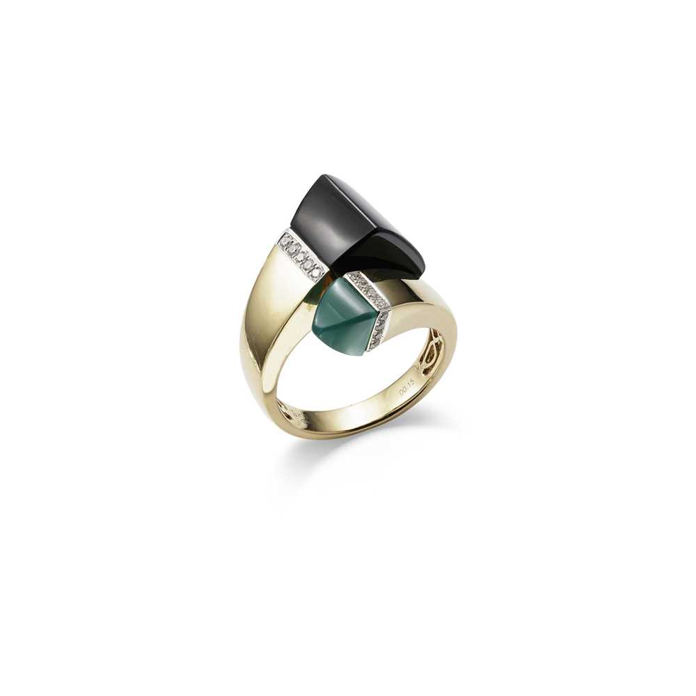 Lot 13-An onyx, chrysoprase and diamond crossover ring, circa 1960s