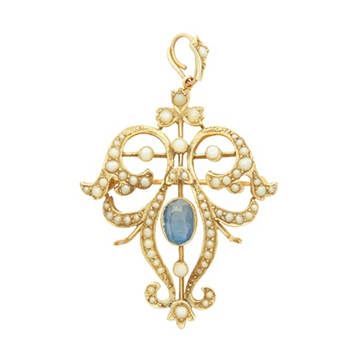Lot 4 - An Edwardian sapphire and seed pearl pendant