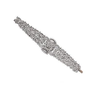 Lot 62 - A diamond bracelet, 1940s