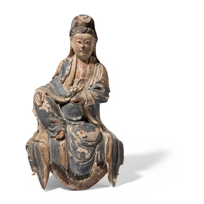 Lot 10 - WOODEN SCULPTURE OF WATER-AND-MOON GUANYIN