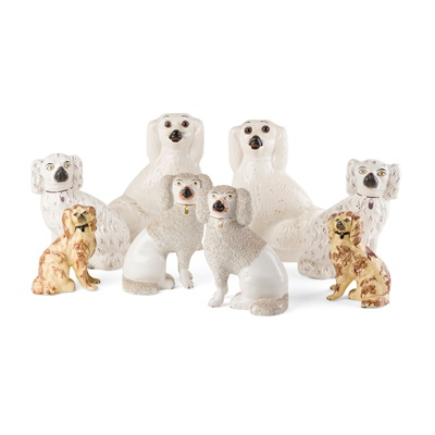 Lot 15 - GROUP OF STAFFORDSHIRE POTTERY SPANIELS