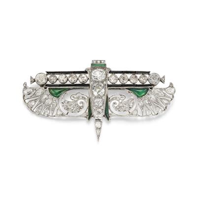 Lot 29 - An Art Deco Egyptian Revival diamond and gem-set brooch, circa 1925