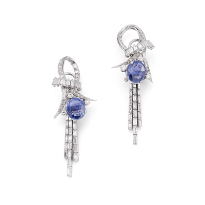 Lot 60 - A pair of sapphire and diamond pendant earrings