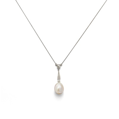 Lot 3 - An early 20th century natural pearl and diamond pendant