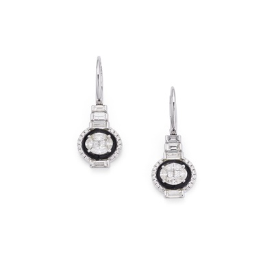 Lot 19-A pair of diamond and onyx earrings