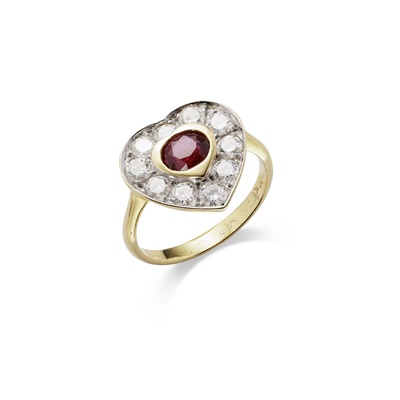 Lot 15-A ruby and diamond cluster ring