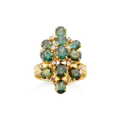 Lot 12-A green sapphire and diamond set cluster ring