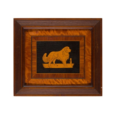 Lot 40 - PAIR OF MARQUETRY DOG PANELS