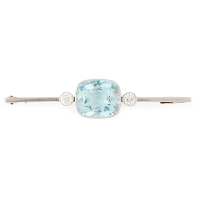 Lot 33-An aquamarine and diamond set bar brooch