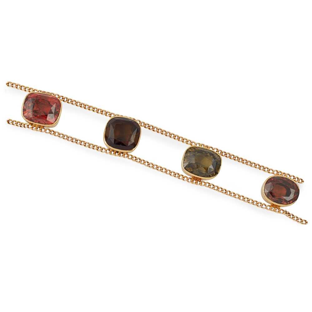 Lot 13-A tourmaline and zircon set bracelet