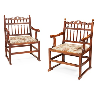 Lot 60 - PAIR OF WALNUT NORTH COUNTRY 'DRUNKARDS' CHAIRS