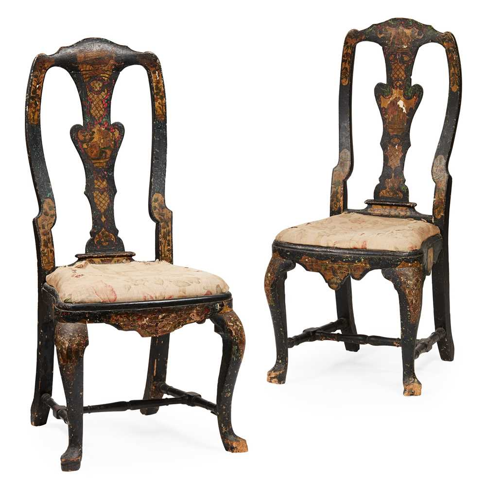 Lot 25 - PAIR OF QUEEN ANNE JAPANNED SIDE CHAIRS