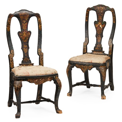 Lot 25-PAIR OF QUEEN ANNE JAPANNED SIDE CHAIRS
