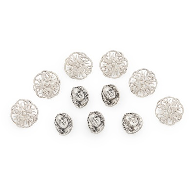 Lot 465 - A cased set of six buttons