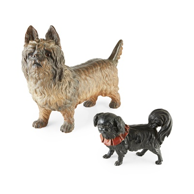 Lot 44 - CONTINENTAL PAINTED TERRACOTTA FIGURE OF A CAIRN TERRIER