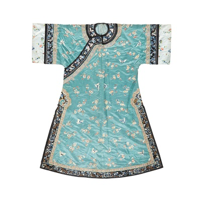 Lot 27-GREEN GROUND SILK EMBROIDERED LADY'S ROBE