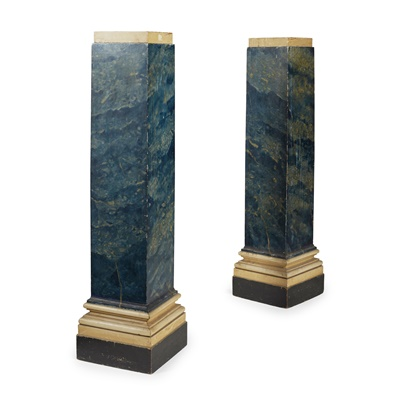 Lot 62 - PAIR OF PARCEL GILT AND SIMULATED MARBLE PEDESTALS