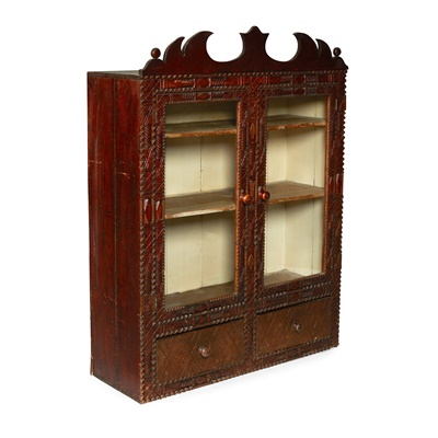 Lot 14 - SCOTTISH LOWLANDS CHIP-CARVED GLAZED WALL CUPBOARD