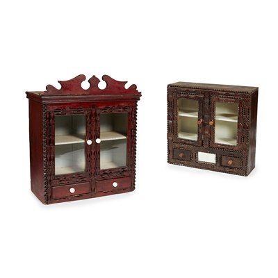 Lot 15 - TWO SCOTTISH LOWLANDS CHIP-CARVED GLAZED WALL CABINETS