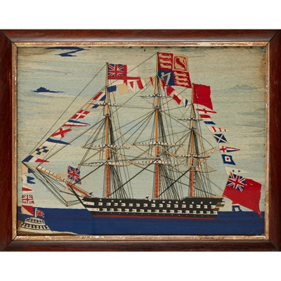 Lot 23 - EARLY VICTORIAN WOOLWORK SHIP PICTURE
