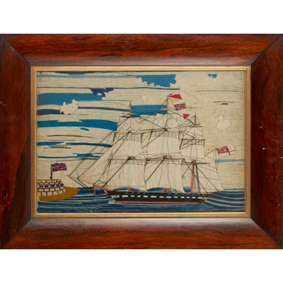 Lot 24 - EARLY VICTORIAN WOOLWORK SHIP PICTURE