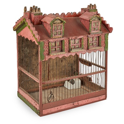 Lot 10 - VICTORIAN HOUSE-FORM BIRDCAGE
