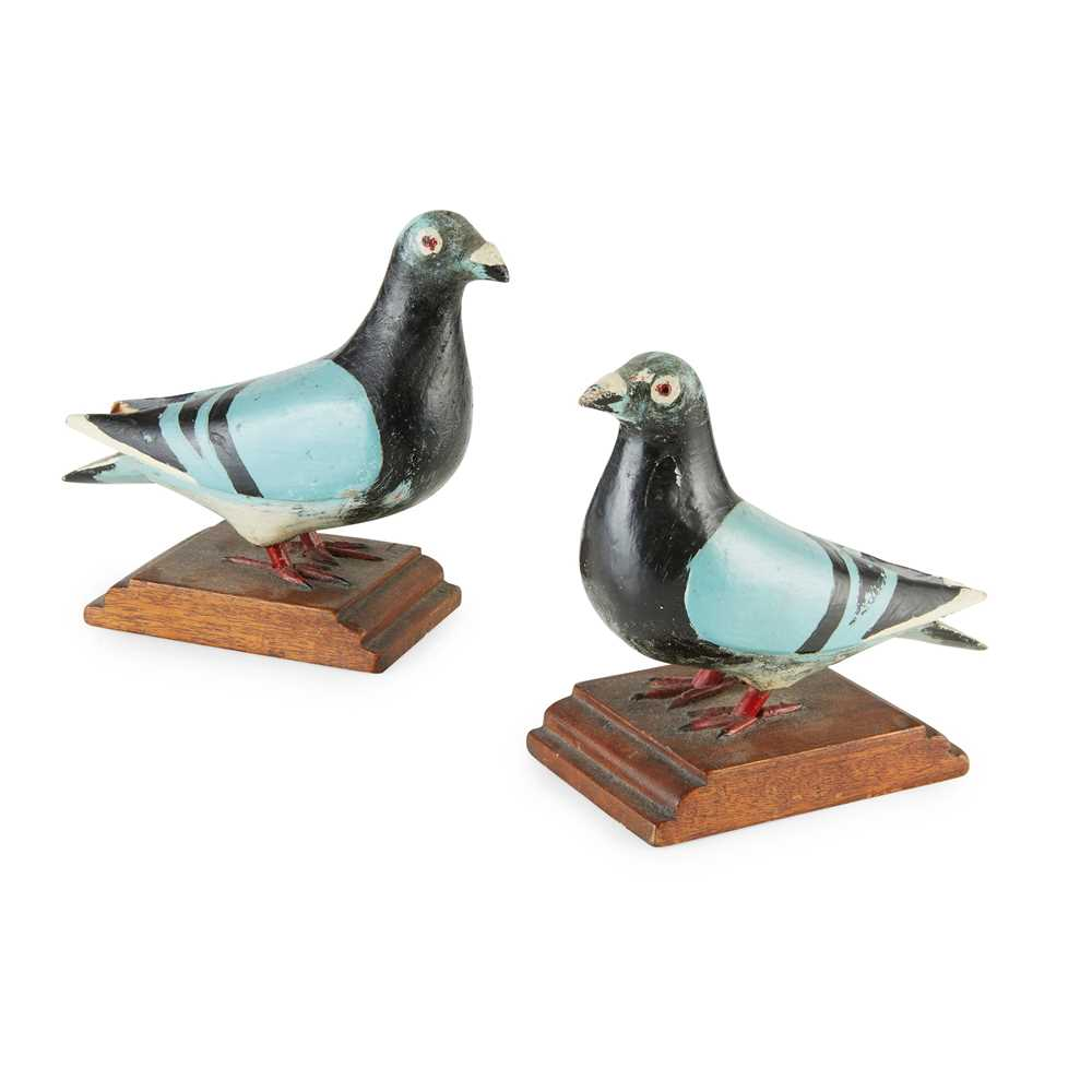 Lot 9 - TWO CARVED AND PAINTED WOOD FIGURES OF HOMING PIGEONS