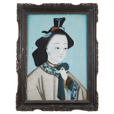 Lot 110 - REVERSE GLASS PAINTING OF A FEMALE PORTRAIT