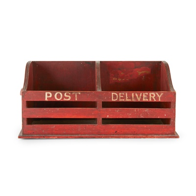 Lot 86 - VICTORIAN RED-PAINTED POST RACK