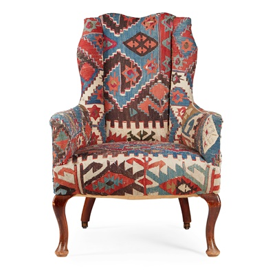 Lot 48 - KILIM UPHOLSTERED SMALL WING ARMCHAIR