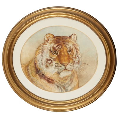 Lot 45 - SILK EMBROIDERED PICTURE OF A TIGER'S HEAD