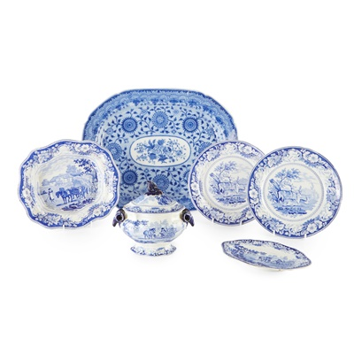 Lot 52 - GROUP OF BLUE TRANSFER POTTERY DISHES