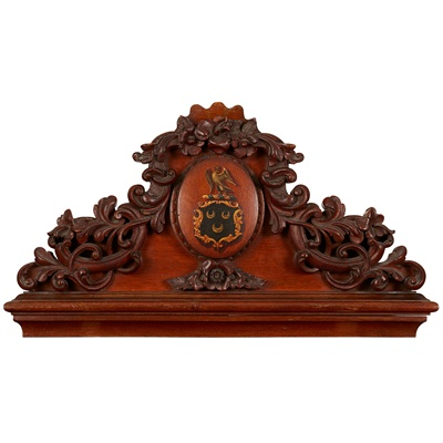 Lot 82 - VICTORIAN CARVED OAK AND POLYCHROME CREST