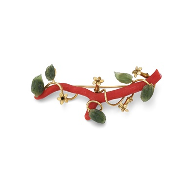 Lot 75 - A nephrite and coral branch brooch, by John Donald, 1980