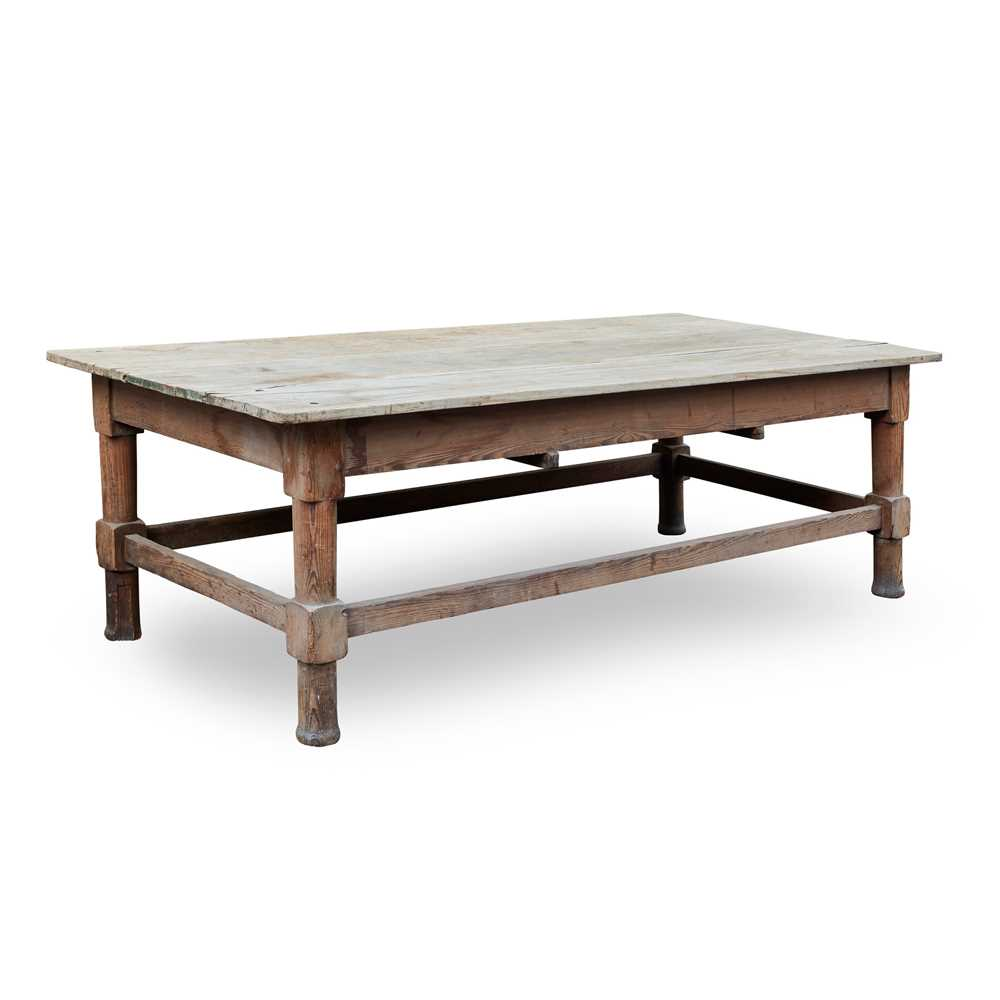 Lot 63 - LARGE VICTORIAN DEAL SCULLERY TABLE