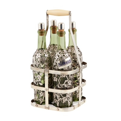 Lot 395 - A Late 19th/ early 29th century French silver overlaid decanter set