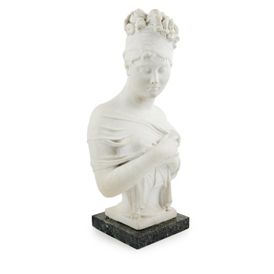 Lot 462 - WHITE MARBLE BUST OF MADAME RECAMIER, AFTER CHINARD