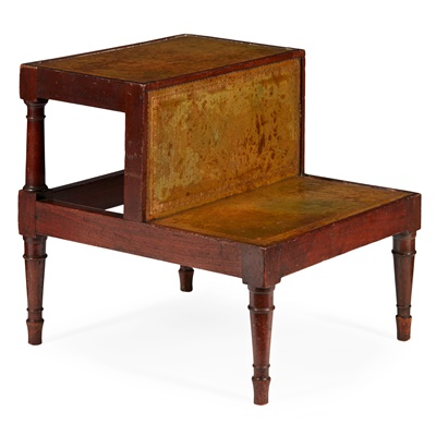 Lot 73 - GEORGE III MAHOGANY AND LEATHER BED STEPS