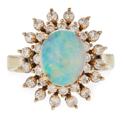 Lot 35-An opal and diamond set cluster ring