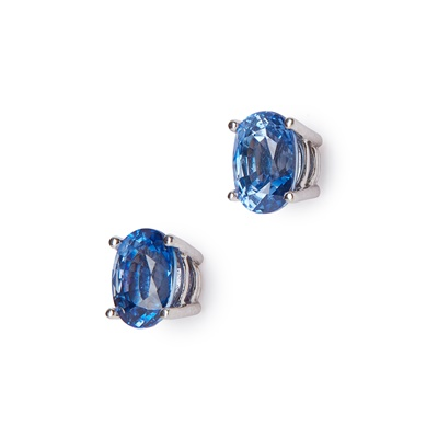 Lot 15-A pair of sapphire set ear studs