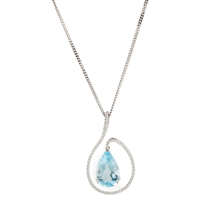 Lot 38-A blue topaz and diamond set pendant necklace