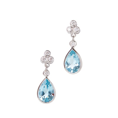 Lot 37-A pair of aquamarine and diamond set pendant earrings