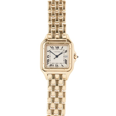 Lot 336 - A mid size 18ct gold wristwatch, Cartier