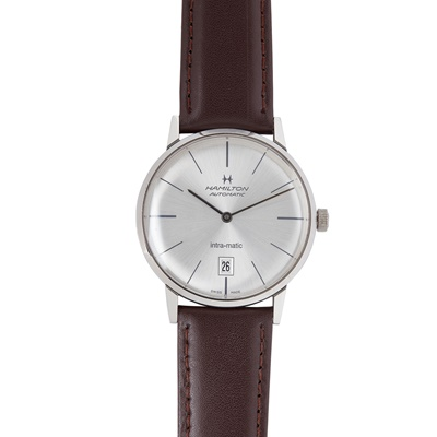 Lot 345 - A gentleman's stainless steel wristwatch, Hamilton
