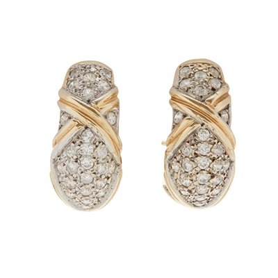 Lot 23-A pair of diamond set earrings and ring