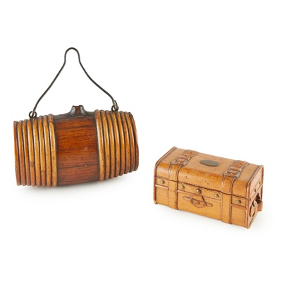 Lot 72 - TWO TREEN NOVELTY CONTAINERS