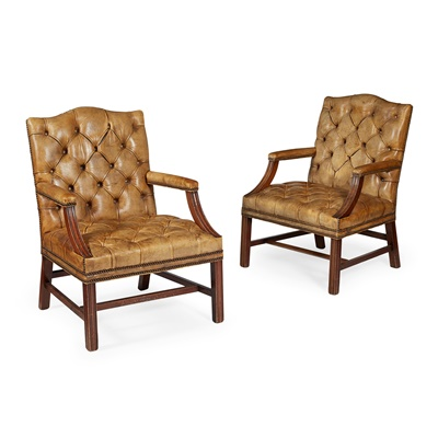 Lot 77 - PAIR OF GEORGIAN STYLE LEATHER UPHOLSTERED MAHOGANY LIBRARY ARMCHAIRS
