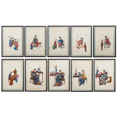 Lot 109 - GROUP OF TEN CANTON SCHOOL PITH PAINTINGS OF FIGURES