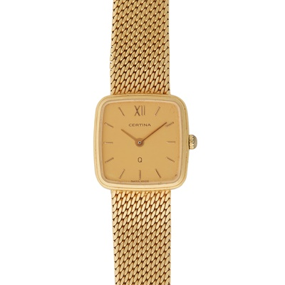 Lot 339 - A lady's 18ct gold wrist watch, Certina